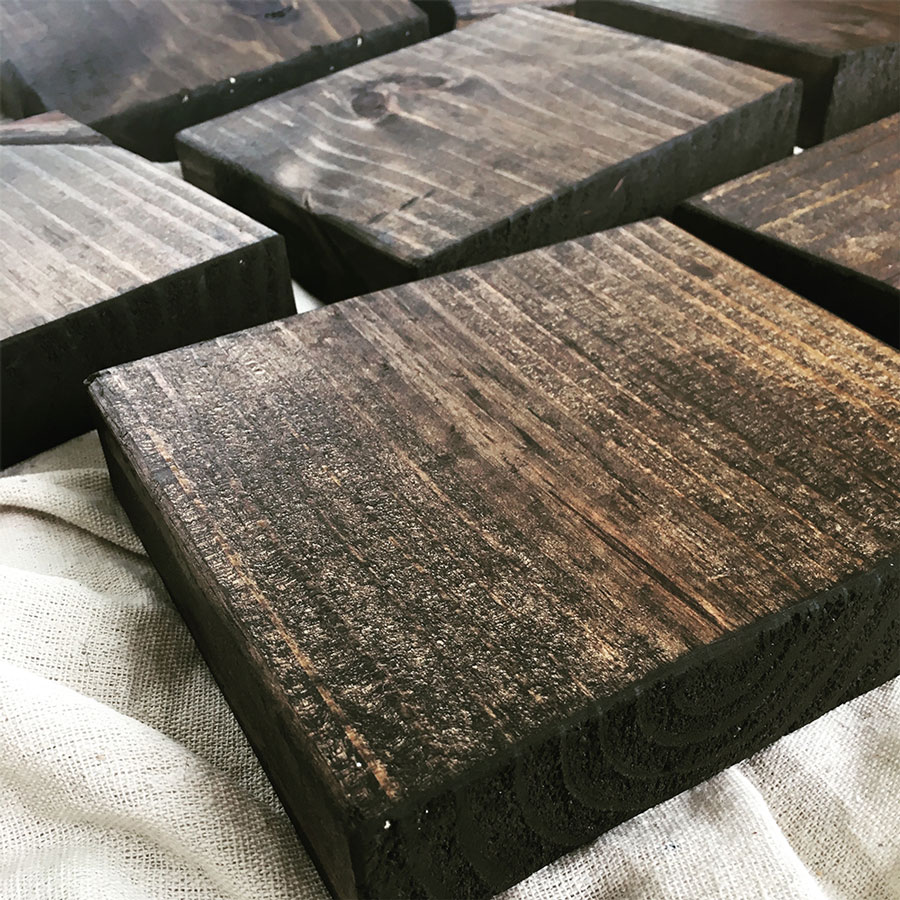 stained wood blocks up close
