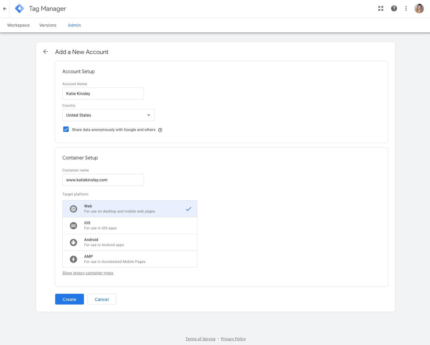 Create a New Container Google Tag Manager