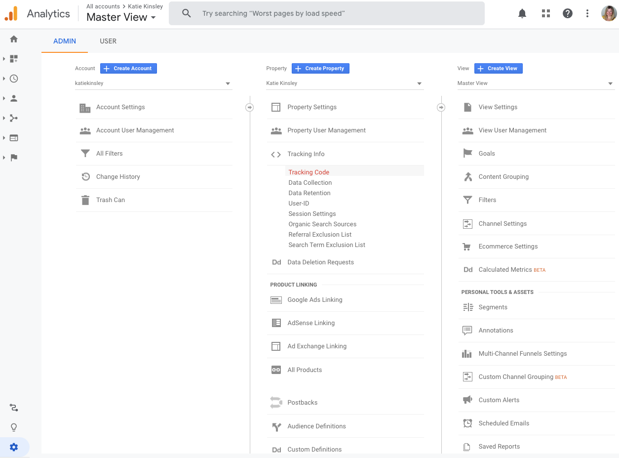 Google Analytics Admin View