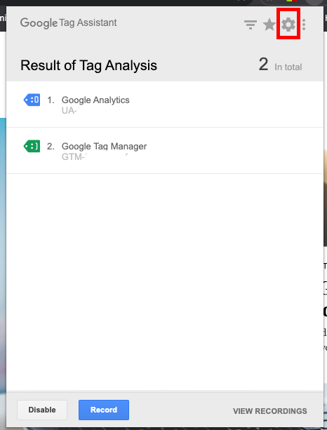 Google Tag Assistant Settings