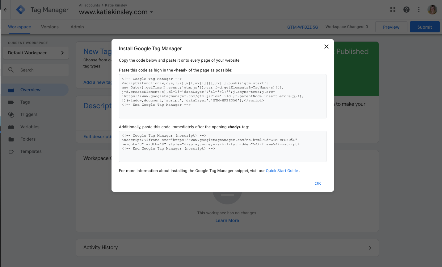 Google Tag Manager Javascript Code