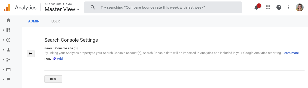 Link Search Console Site to Search Console Settings