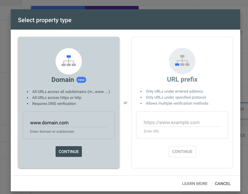 Select Property Type in Google Search Console