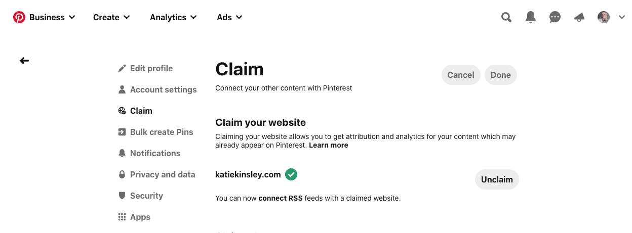 Verify the Pinterest website claim