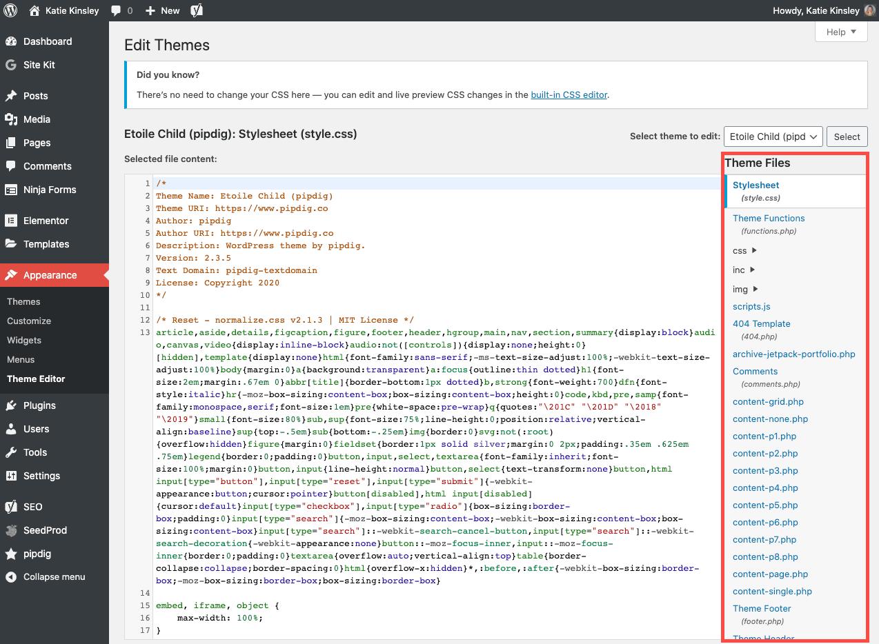 WordPress Appearance Theme Editor