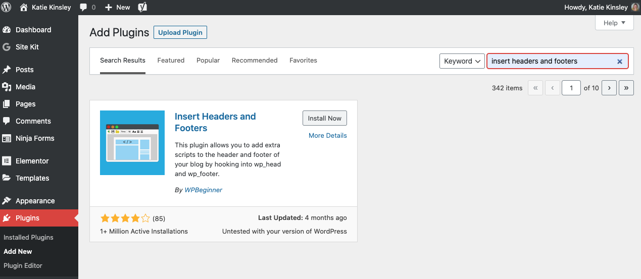 WordPress Insert Headers and Footers Plugin