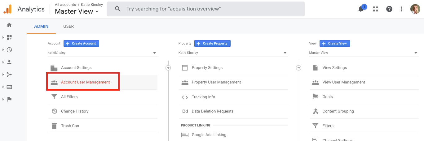 Add A User in Google Analytics