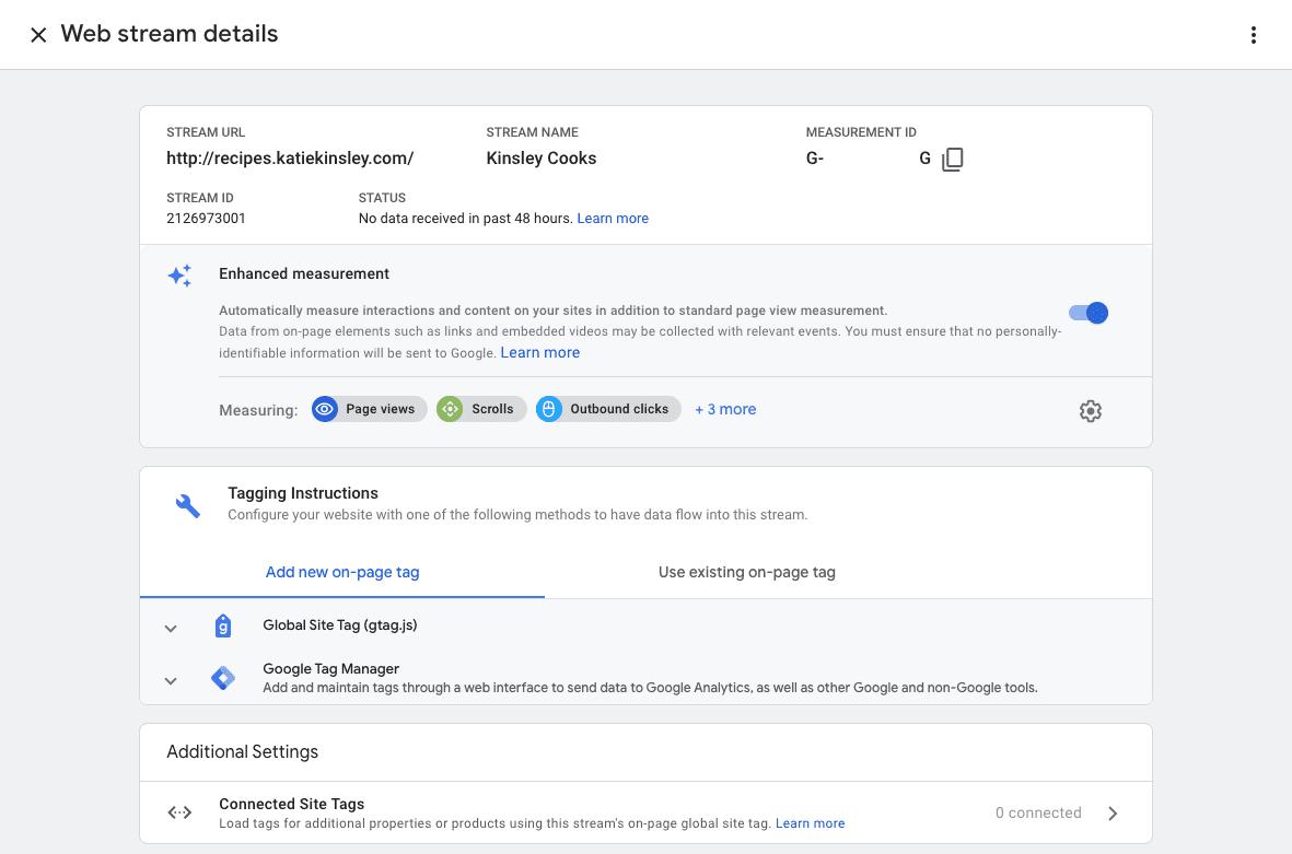 Google Analytics 4 Web Stream Details