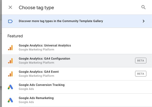 Google Analytics Tag Type