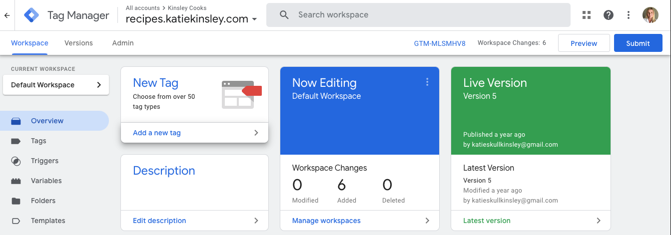 Google Tag Manager Home Screen