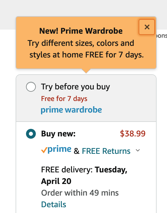 Amazon Prime Wardrobe Add to Box