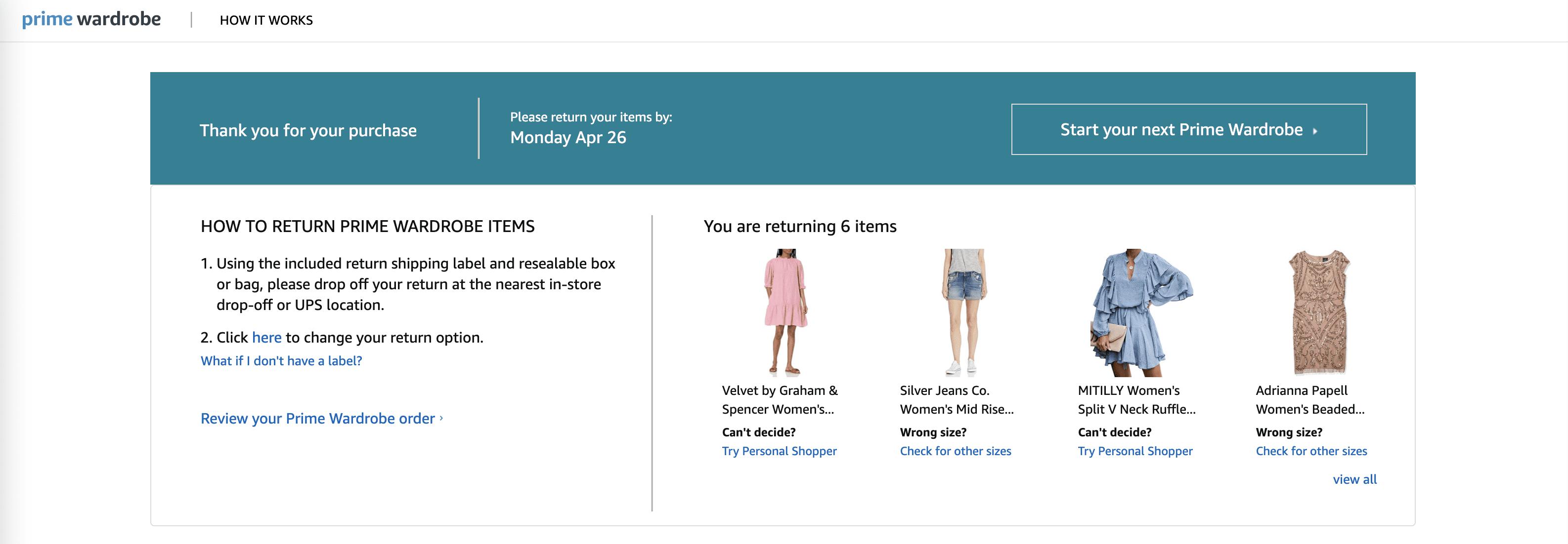 Return Amazon Prime Wardrobe