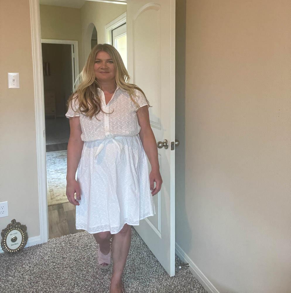 J.Crew Mercantile Women's Short-Sleeve Eyelet Collared Tie Front Dress
