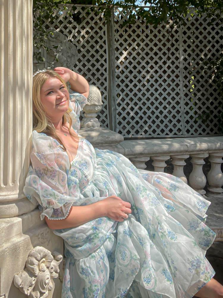 Dallas Dreamhaus outside Katie Kinsley Selkie Puff Sleeve Dress
