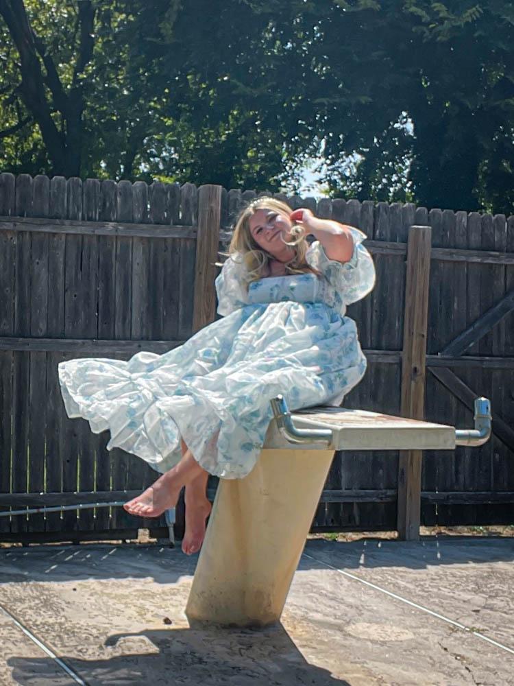 Dallas Dreamhaus pool Katie Kinsley Selkie Puff Sleeve Dress