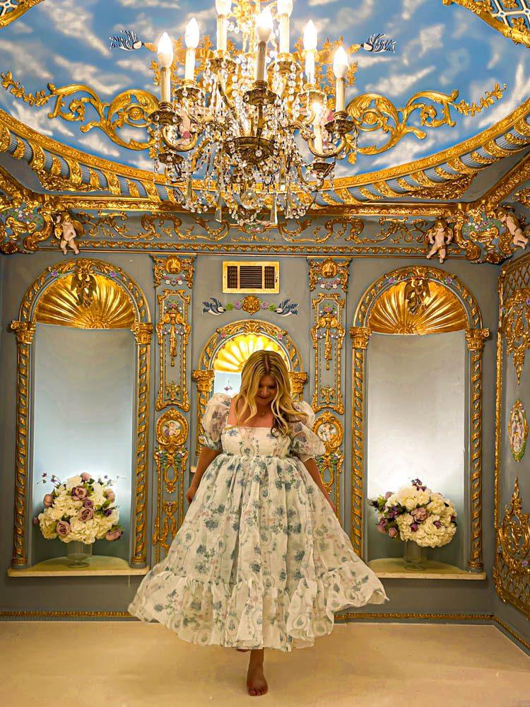 Dallas Dreamhaus gold interior Katie Kinsley Selkie Puff Sleeve Dress