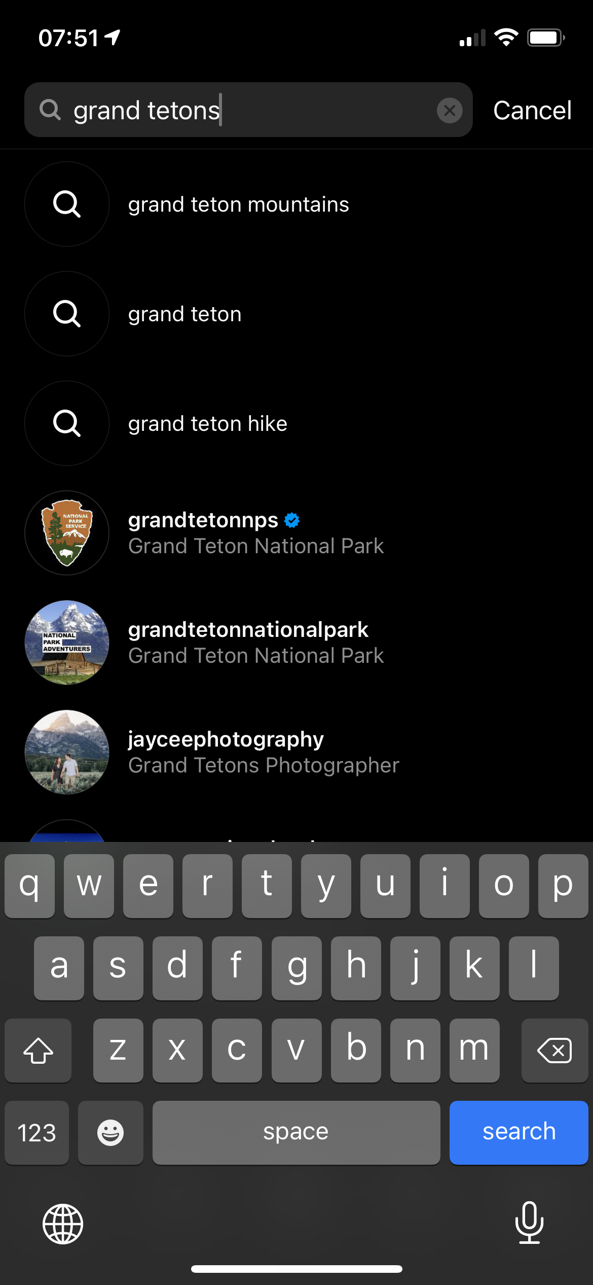 Instagram SEO Search for Grand Tetons