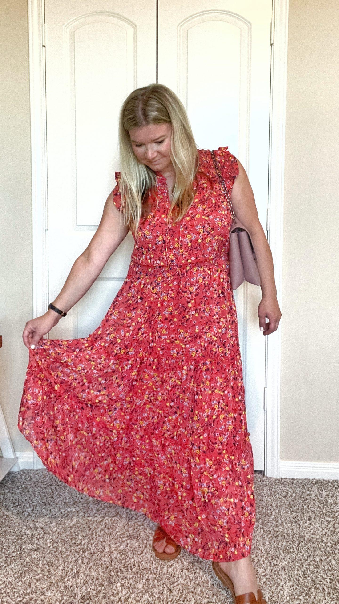 Jessica Simpson Women's Katie Ruffle Trim Three Tier Maxi Dress